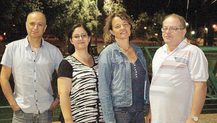 מארגני ההפגנה מימין לשמאל: עמר אבניאלי, סו כהן, ליאורה כהן ואלברט יעקובי