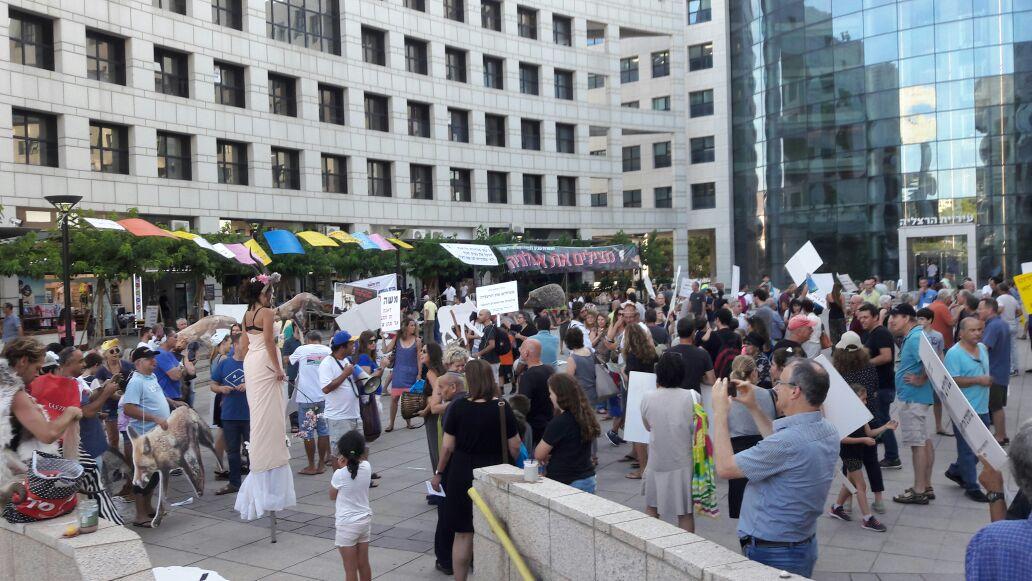 ההפגנה בהרצליה. צילום איריס ברעם