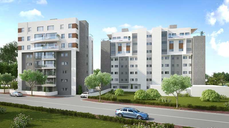 """הדמיה של שני בניינים אחרי תמ""""א 38 ברחוב טשרניחובסקי 13 וברחוב אנילביץ' 17. ביצוע הדמיה: סיטי בי אדריכלים"""