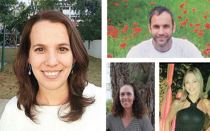 מימין עם כיוון השעון: גיא בורדה, רביד אלבו, שרונה לימן, הדר לביא