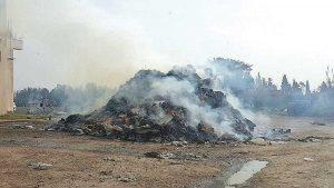 שריפת פסולת בקלאנסווה צילום אזרחים למן אוויר נקי