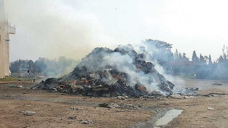 שריפת פסולת בקלאנסווה צילום אזרחים למען אוויר נקי
