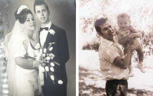 מימין: יוסי עם הבן רונן, יוסי ורותי ביום חתונתם