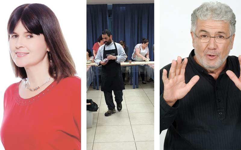 """מימין: יוסי אלפי, סדנת בישול, יוכי ברנדס. צילומים יח""""צ, עיריית כפר סבא ואילן בשור"""