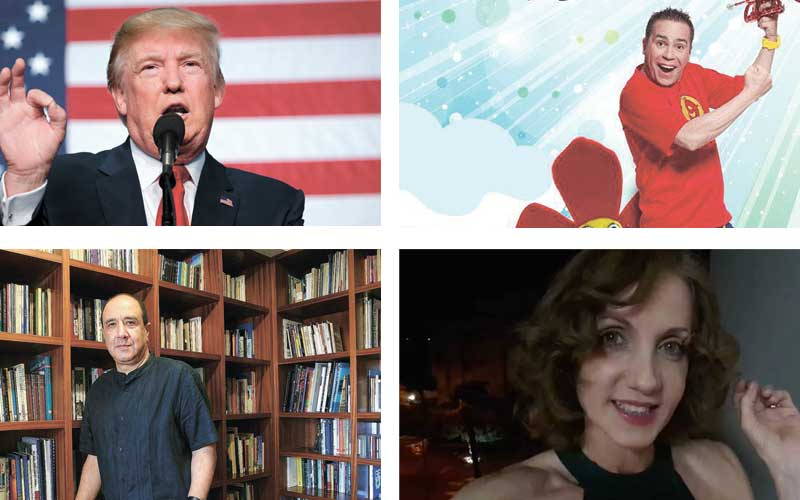 מימין עם כיוון השעון: ההצגה חצוצרפי, זוהר זמיר, רוני סומק, דונלד טראמפ. צילומים אי פי, אלכס ליבק, מתוך הפייסבוק