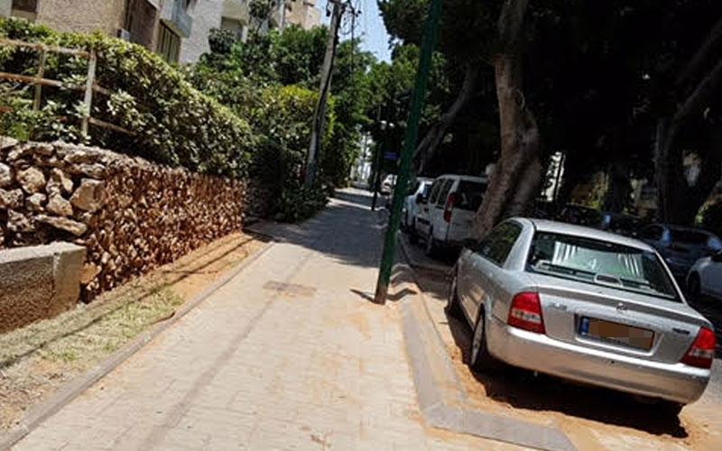 החניה ברחוב הרצל. צילום משמר האילנות