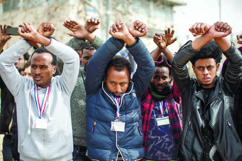 מבקשי מקלט מפגינים בירושלים. צילום אמיל סלמן