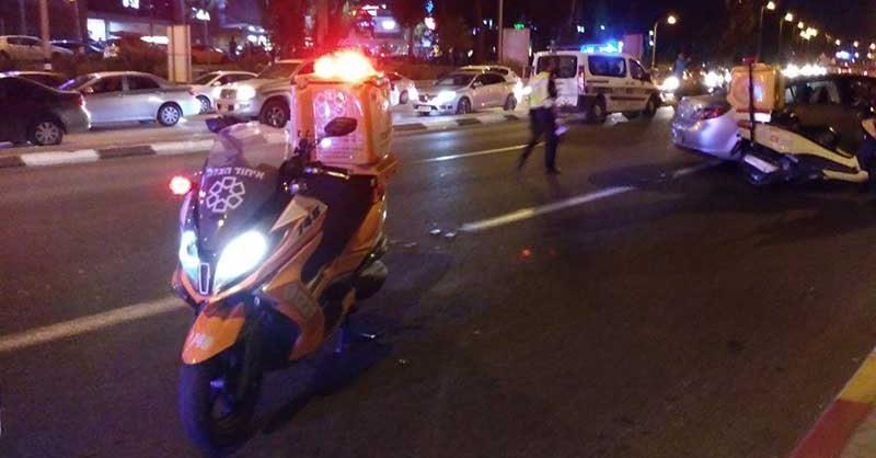 זירת התאונה ברחוב ויצמן. צילום איחוד הצלה