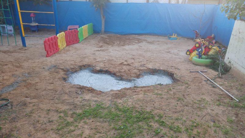 הבור שנסתם בבטון. צילום עיריית כפר סבא