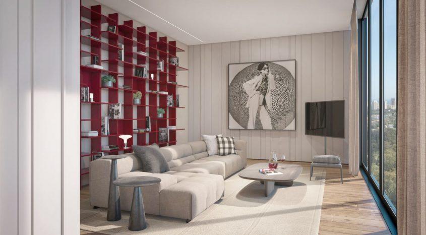חדר משפחה בפנטהאוז. הדמיה: סטודיו מעיין