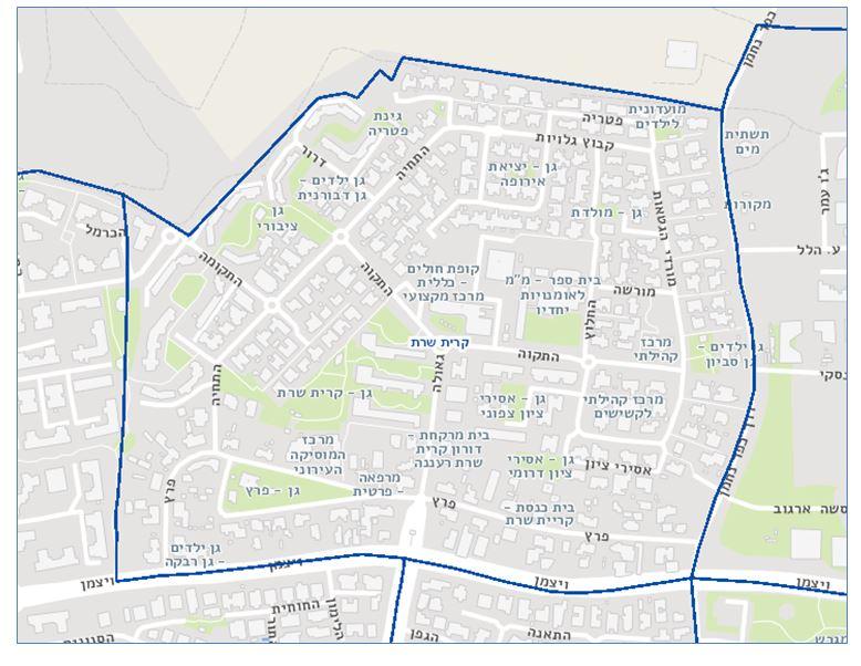 מפת שכונת קרית שרת, רעננה: