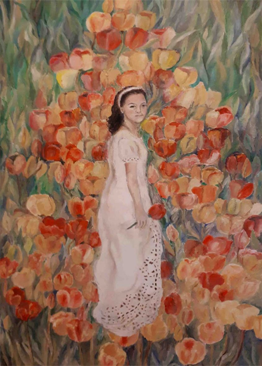 """האמנית בלה לוין 'אסור לקטוף את פרחי הגן'. לזכר דורית מצקין ז""""ל"""