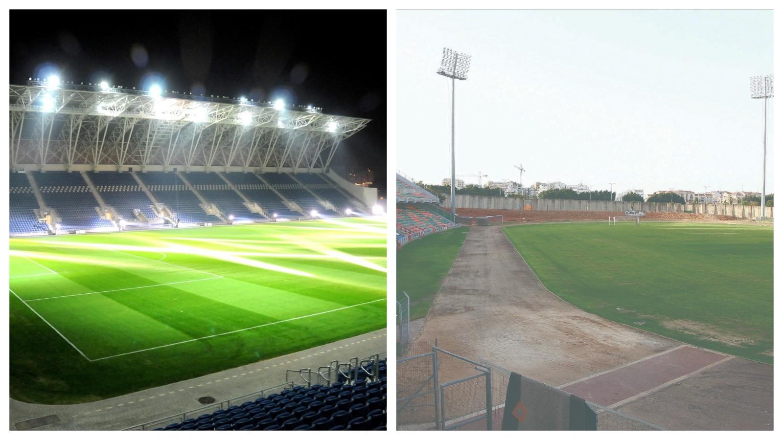 מימין: אצטדיון לויטה, אצטדיון המושבה. צילומים: עזרא לוי, זאב שטרן