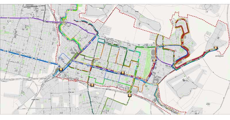 מפת קווי התחבורה החדשים של כפר סבא