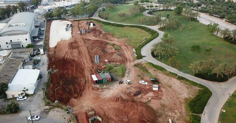 העבודות בפארק כפר סבא סמוך לרחוב התוכנה.