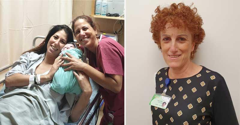האחות חלי וונונו (מימין) והמיילדת סמדר שלומוביץ. צילום באדיבות בית החולים מאיר